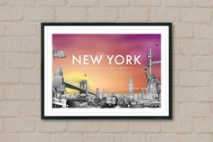 NEW YORK - Travel Poster - New York Poster - City Poster - Sunset - City Sunset - Wall Art - NY - Love ny - Travelling Art - Home Decor by ArtyPrintsBoutique on Etsy
