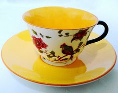 Crown Staffordshire Bird art deco colorful Teacup Set
