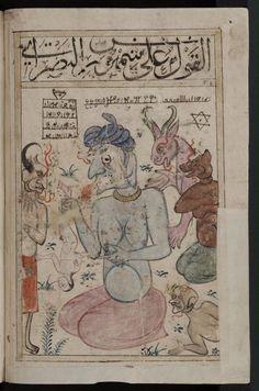 Group of jinn with a human, 14th century manuscript. Kitab al-Bulhan