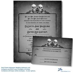 Two Skulls Eerie Halloween Wedding Stationery Set, Invitation and Reply Card, Printable or Printed Invitations by StarStreamDesign on Etsy