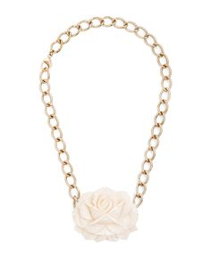 Cream and gold resin flower necklace