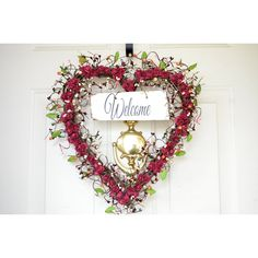 Heart Welcome wreath Soft burgundy paper roses Old Barn Wood welcome... ($85) ❤ liked on Polyvore featuring home, home decor, holiday decorations, heart wreath, cranberry wreath, heart home decor, heart shaped signs and rose wreath