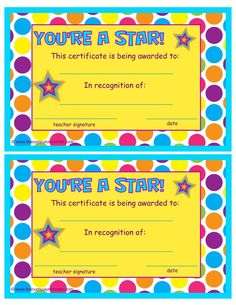 Free printable award certificates for kids school stuff youre a star end of the year certificate free from the curriculum corner yadclub Gallery