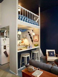 """Loft bed, kitchenette - A great idea that could be modified to apply to a """"Tiny"""" - To connect with us, and our community of people from Australia and around the world, learning how to live large in small places, visit us at www.Facebook.com/TinyHousesAustralia or at www.TinyHousesAustralia.com"""