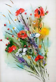 Gallerymak.com - 2.700 TL / 800 USD  Flowers - 6 by Berna Özbakır - İpek üzerine Tekstil Boyası / Textile Paint on Silk - 50x70  #gallerymak #çiçek #ipek #sanat #gününkaresi #artgallery #resim #tablo #elyapimi #tasarim #silk