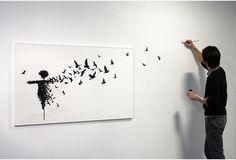 Esparcepájaros PEJAC. #pejac http://www.widewalls.ch/artist/pejac/ #urban_art #street_art