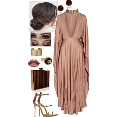 A fashion look from December 2016 featuring plunge-neck dresses, platform shoes and gold jewellery. Browse and shop related looks.