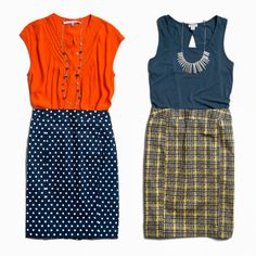Love patterned pencil skirts, and the pop of color with the orange...which is my favorite color!