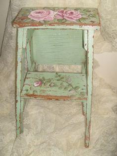 Shabby & Chic Cottage Chippy Ladder Stool-Shabby,chic,cottage,roses,hp roses,chippy,distressed,time worn,vintage,jadite,pink,stool,