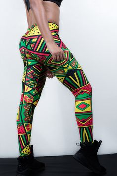 #Aztec Pattern #Leggings - #Rasta Colors via COSMOTEE|Republic. Click on the image to see more!
