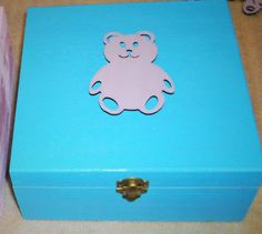 Blue Wooden Box. Plum colour lazer cut  Wooden Teddy bear on lid. Ideal for jewellery Trinkets Memory Box. Baby Shower Gift Box. Storage box