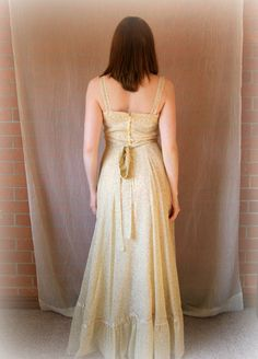 Pale Yellow Maxi Dress Gunne Sax Hippie Chic by MapleCreekShop, $72.00