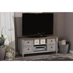 Baxton Studio Edouard French Provincial Style White Wash Distressed Two-Tone TV Cabinet (TV Stand-White/Light Brown), Grey Barn Door Tv Stand, Solid Wood Tv Stand, Cool Tv Stands, Weathered Oak, Baxton Studio, Tv Cabinets, French Provincial, Entertainment Room, Open Shelving