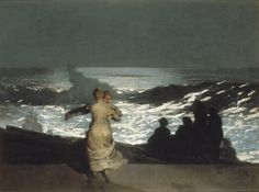 """Winslow Homer painted """"Summer Night"""" - one of his most recognizable works- when he was living in a small coastal town in New England. Description from theartwolf.com. I searched for this on bing.com/images"""
