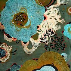 "Yellena James - Gallery: ""Stream"" Acrylic on wood, © 2008 Yellena James Graphic Design Illustration, Botanical Illustration, Illustration Art, Botanical Art, Art Floral, Yellena James, Organic Art, Coral, Graphic Design"