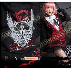 Black and Red Stripe Hooded Emo Goth Punk Jackets Hoodies Clothing SKU-11401186