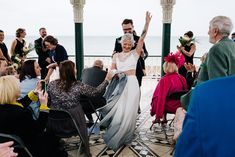 Bride wears a short sleeved lace cropped top and dip dye grey skirt by Lucy Can't Dance. Images by Kristian Leven Photography Dip Dye Skirts, Dance Crop Tops, Hot Dog Bar, Wedding Skirt, Bridal Separates, Gray Skirt, Alternative Wedding, Teen Fashion, Brighton