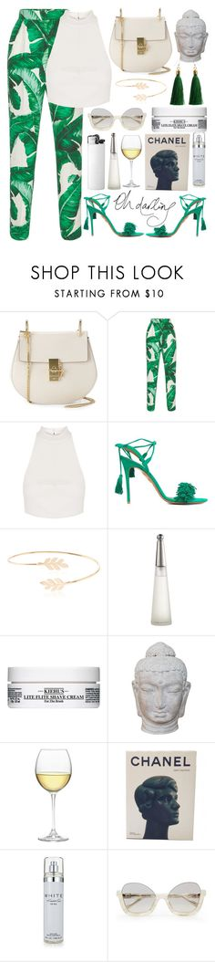 """""""🌿"""" by burcaak ❤ liked on Polyvore featuring Chloé, Dolce&Gabbana, Topshop, Aquazzura, Accessorize, Issey Miyake, Kiehl's, Puji, Nordstrom and Chanel"""