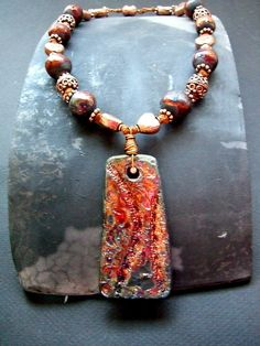 Raku Beads: Copper Magic Necklace by MAKUstudio | by MAKUstudio