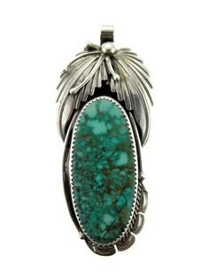 Navajo Sterling Silver King Manassa Turquoise Foliage Pendant