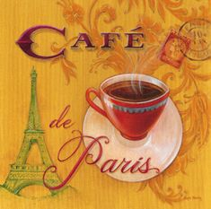 Paris Cafe poster  honey how can I get this poster, want to put it on my front door for fall,   and say something's brewing