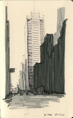 NY & Chicago Architecture Sketches by Cristián Bascuñán, via Behance #architecture #sketch