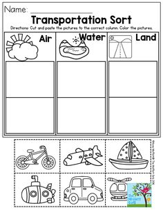 Transportation Sort- air, water or land? Perfect for Preschool!