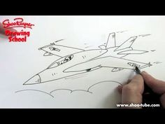 How to draw an F-18 Fighter Plane - Shoo Rayner Drawing School - YouTube