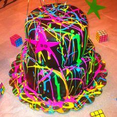 80's paint splatters cake