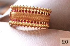 Gold Ruby Broad Bangle from Sayar Jewellery ~ South India Jewels Gold Bangles Design, Gold Jewellery Design, Gold Jewelry, Designer Bangles, Ruby Jewelry, India Jewelry, Gold Necklaces, Handmade Jewellery, Earrings Handmade