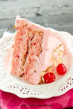 If you love cherries, you'll love this Cherry Almond Cake. from scratch with a maraschino cherry frosting. See the maraschino cherry & almond flowers! Cherry And Almond Cake, Cherry Cake, Almond Cakes, Cherry Frosting, Cherry Vanilla Cake Recipe, Buttercream Icing, Cream Frosting, Homemade Cake Recipes, Best Cake Recipes