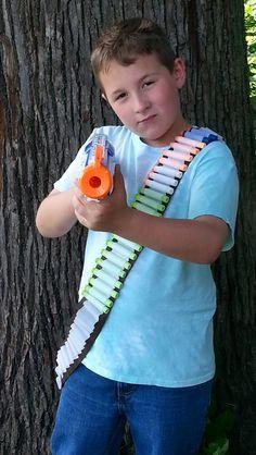 Nerf Gun Bullet Dart Holder Belt Rambo Bandolier Brown White