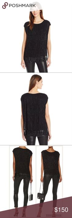 """Joie Beaded Blouse Cecile Fringe Black Sz Small Joie Cecile Beaded Blouse--NWT $398 Flirty and romantic beading throughout makes this fun blouse a must-have for any fashionista.   -Boatneck   - Sleeveless   - Allover beaded detail   - Beaded fringe   - Lined   - Approx. 24"""" length, 3"""" fringe length , 40"""" Bust (Size Small) Fiber Content Shell: 100% viscose Lining: 100% polyester Care Dry clean Joie Tops Blouses"""