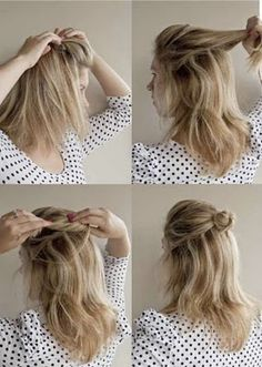 French roll twist and pin how to guide! I like to use hair colored rubberbands to give it a little extra security.