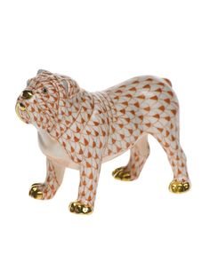 Herend Hand painted Porcelain Figurine of  Bulldog on All Fours Looking a Bit Mean in Rust Fishnet w Gold Accents.