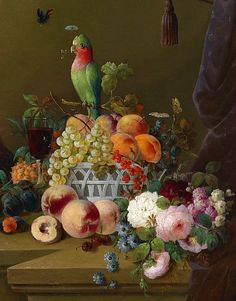 Parrot and fruit still life