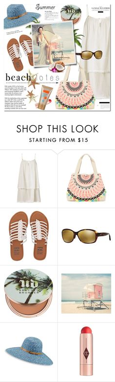 """Beach tote-straw hat-summer sandals-mini beach dress"" by cly88 ❤ liked on Polyvore featuring Heidi Klein, RAJ, Billabong, Maui Jim, Urban Decay, Betmar, Charlotte Tilbury and Tiffany & Co."