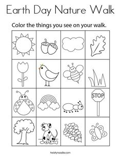 Earth Day Nature Walk Coloring Page - Twisty Noodle Earth Day Activities, Home Activities, Spring Activities, Toddler Activities, Earth Day Kindergarten Activities, Home Learning, Preschool Learning, Learning Activities, Preschool Writing