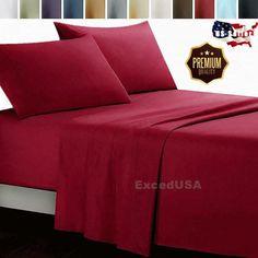 2/3/4 Pcs Bed Sheet Set Soft Pillow Case Deep Pocket Home Bedding Hotel Sheets #Case Soft Bed Sheets, Bed Sheet Sets, Flat Sheets, Queen Size, King Size, Hotel Sheets, Queen Bedding Sets, Soft Pillows, Bed Sizes