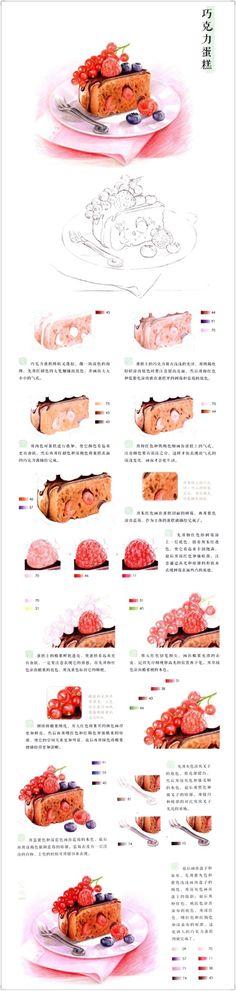 天驰羽采集到彩铅美食教程(49图)_花瓣美食