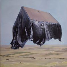 Artist: Zoltán Béla - Real Estate Take Off, 100 x 100 cm, oil on canvas Oil On Canvas, Artist, Canvas, Painting, Texture Mapping, Pop Art
