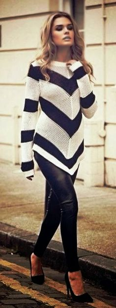 Leather Skinny Trousers with Black&White Patterned Sweater and Stiletto Shoes