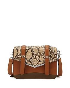 V373F French Connection Remy Snake-Embossed Crossbody Bag, Nutmeg/Nude