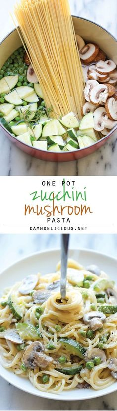 One Pot Zucchini Mushroom Pasta - A creamy, hearty pasta dish that you can make in just 20 min. Even the pasta gets cooked in the pot! One Pot Zucchini Mushroom Pasta Dominik Ebersbach dominikebersbach what's cookin. Veggie Recipes, Pasta Recipes, Vegetarian Recipes, Cooking Recipes, Healthy Recipes, Mushroom Recipes, Paleo Meals, Skillet Recipes, Cooking Tools