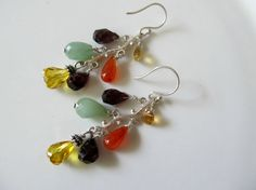 18% discount Spring Sale Multi-gemstone earrings, multi gemstone earrings, colorful sterling silver gemstone earrings w garnet citrine carne