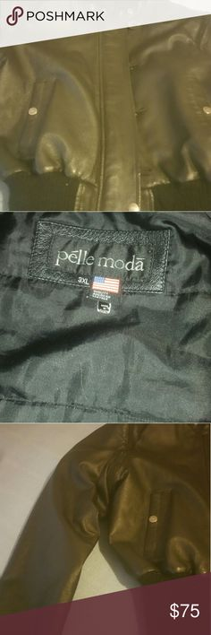 Leather bomber jacket/vest Pre-owned thick and durable leather jacket that can be converted into a vest. It can be worn by a girl teen or woman. There was hood but it got misplaced. Also, there is one button missing at the bottom of the jacket which is barely noticeable. Pelle Moda Jackets & Coats