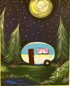 Canvas Painting Tutorials, Easy Canvas Painting, Rock Painting Ideas Easy, Easy Paintings, Canvas Art, Canvas Paintings, Camping Humor, Rv Camping, Glamping