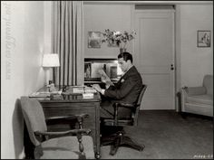 Cary, either at his home, or a still for a movie, not sure.
