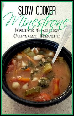 Minestrone Soup Recipe For The Slow Cooker. Olive Garden Minestrone Soup Recipe To Enjoy At Home! Slow Cooker Recipes, Crockpot Recipes, Soup Recipes, Cooking Recipes, Healthy Recipes, Healthy Meals, Easy Recipes, Diet Recipes, Easy Meals