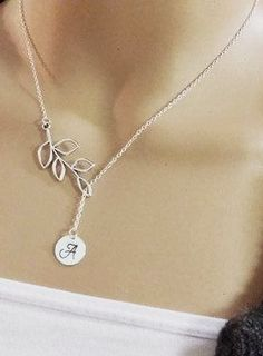 Hand Stamped Initial Sterling Silver Lariat Style Necklace
